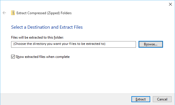 Extracting files on Windows 10
